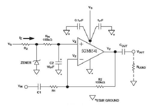 图4:利用相同的齐纳二极管的反相放大器电路的偏置方法。   在图3中,电流通过电阻RZ流到齐纳二极管,形成偏置工作点。电容CN可以阻止齐纳二极管产生的噪声通过反馈进入运放。要想实现低噪声电路需要使用一个比10uF还大的CN,并且齐纳二极管应该选择一个工作电压在Vs/2。电阻RZ必须选择能够提供齐纳二极管工作在稳定的额定电压上和保持输出噪声电流比较低的水平上。因为运放的输入电流只有1pA左右,几乎接近零,所以为了减小输出噪声电流,低功耗的齐纳二极管是非常理想的选择。可以选择250mW的齐纳二极管,但为