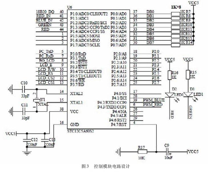 2. 3 检测模块 检测模块利用光照传感器、温度传感器实时检测设施内部光照强度和温度,并将采集数据提供给单片机进行处理,原理图如图4 所示。其中,温度检测模块由温度传感器18B20 及其标准调理电路组成,数据线接入单片机P1. 0 口,实现对温度的采集。光照检测包括红光光强检测和蓝光光强检测,采用波长范围在400 ~ 500nm 的蓝光2BU6 硅光电池和波长范围600 ~ 700nm 的红光2BU6 硅光电池作为检测元件。采用4 路运算放大器LM324 设计运算放大器将硅光电池的微弱模拟信号分别进行转